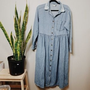 • VINTAGE • lace denim button down maxi dress